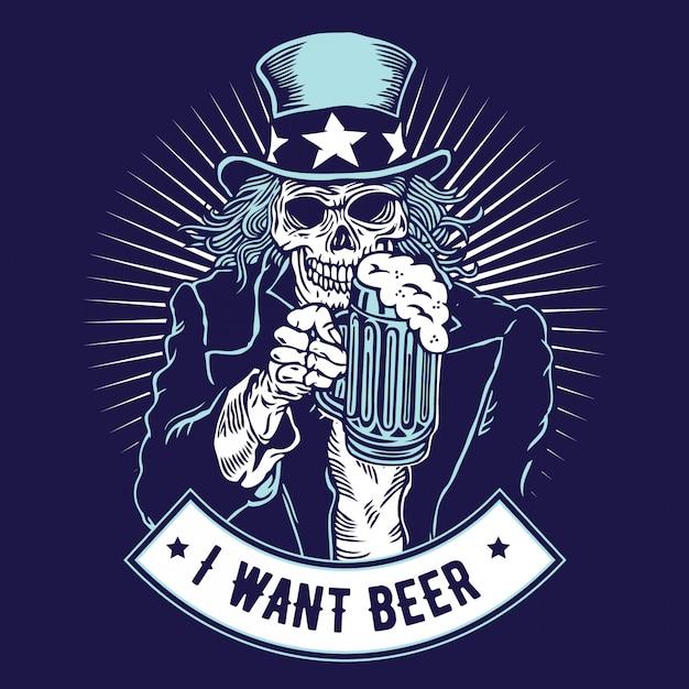 Eu quero cerveja - tio sam Vetor Premium