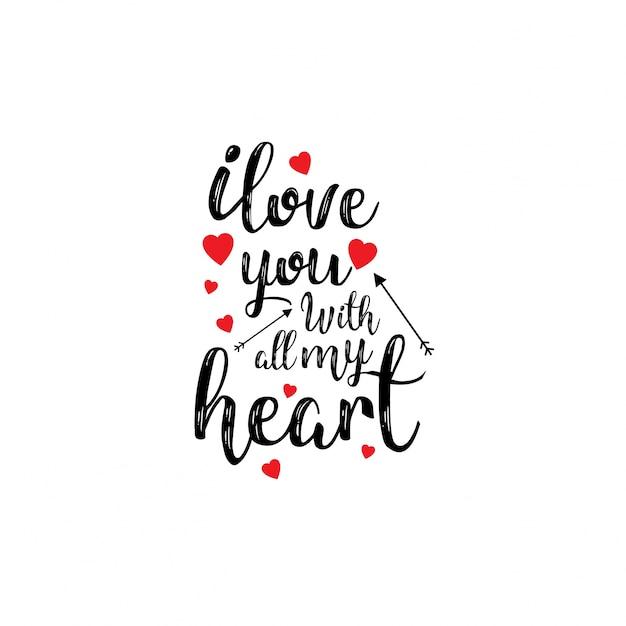 Eu te amo com todo o meu coração Vetor grátis