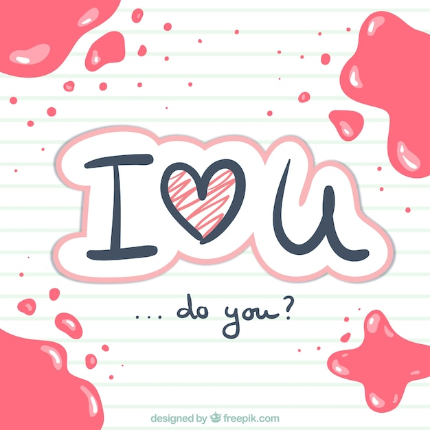 Eu te amo escrito à mão Vetor grátis