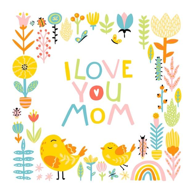 Eu te amo, mãe. bonito dos desenhos animados pássaros mãe e bebê em um quadro de flores e frase de letras cômicas com um arco-íris em uma paleta colorida. Vetor Premium