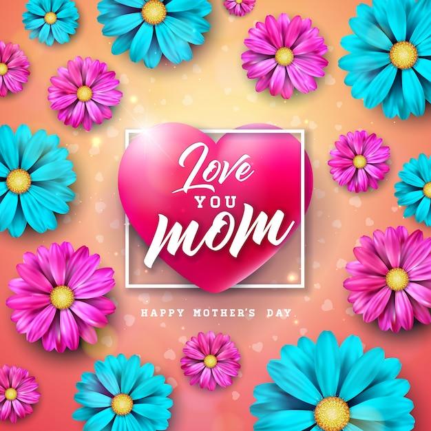 Eu te amo, mãe. feliz dia das mães cartão design com letra de flor e tipografia no coração Vetor grátis