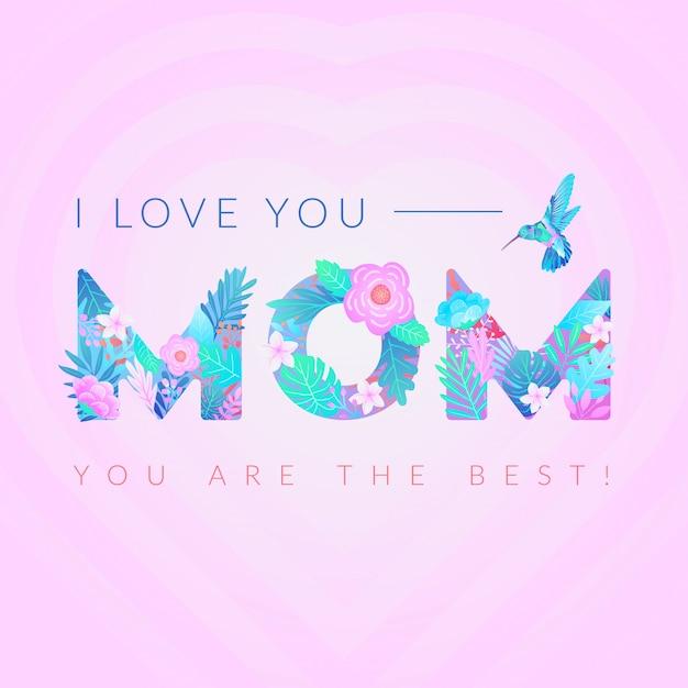 Eu te amo, mãe Vetor Premium