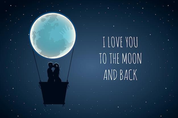 Eu te amo mais do que tudo. slogan positivo bonito do amante com lua cheia e os amantes no ar quente. Vetor Premium