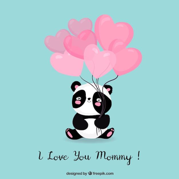 Eu te amo mamãe bonito fundo Vetor grátis