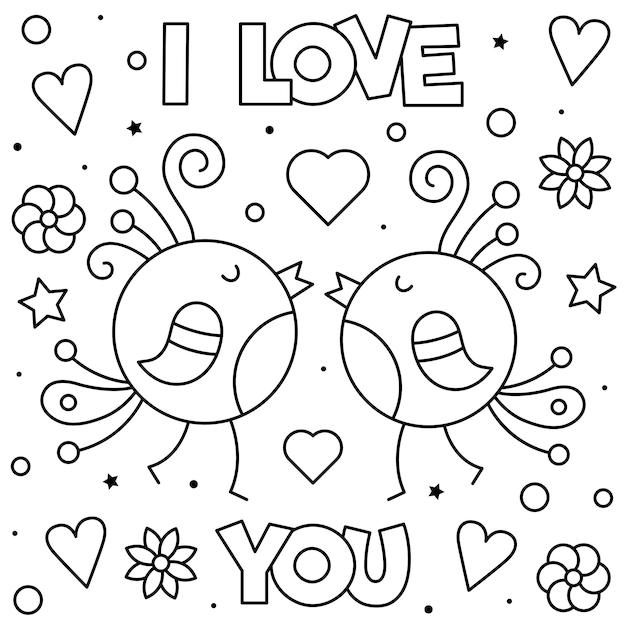 Eu Te Amo Página Para Colorir Ilustração Em Vetor Preto E