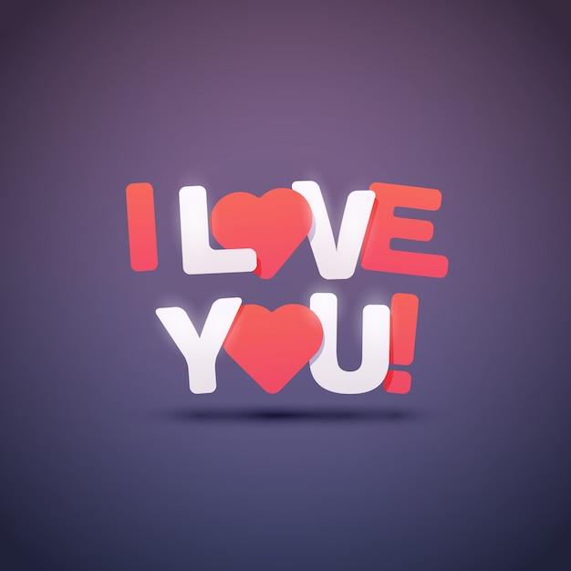 Eu te amo texto com corações. ilustração. Vetor Premium