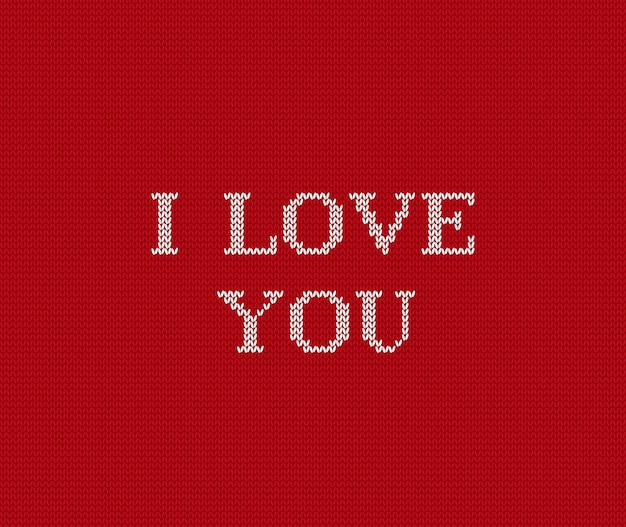 Eu te amo tricotar fundo vermelho dos namorados, Vetor Premium