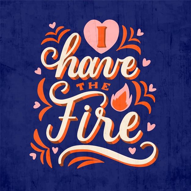 Eu tenho o fogo letras de amor próprio Vetor grátis