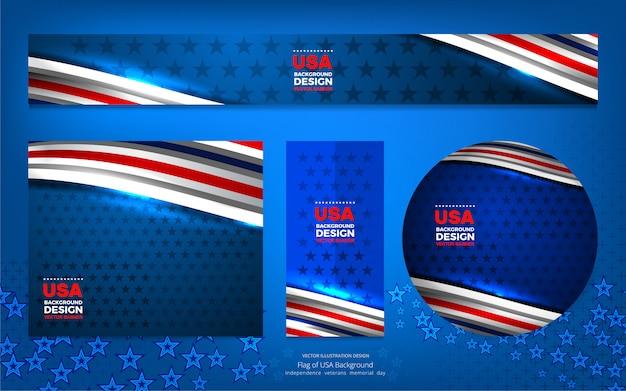 Eua cor bandeira conceito banner fundo para independência Vetor Premium