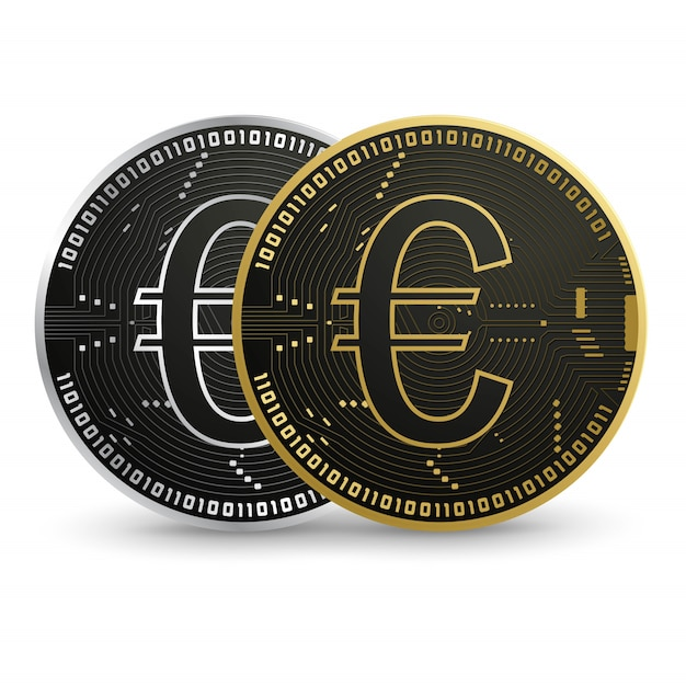 Euro digital, moeda de ouro preto Vetor Premium