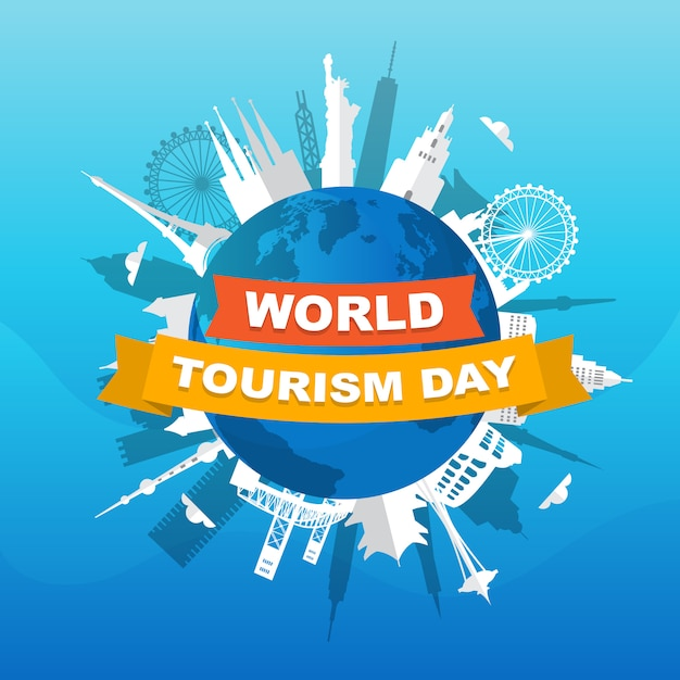 Europa ásia cidade viagem férias ilustração do dia mundial do turismo Vetor Premium