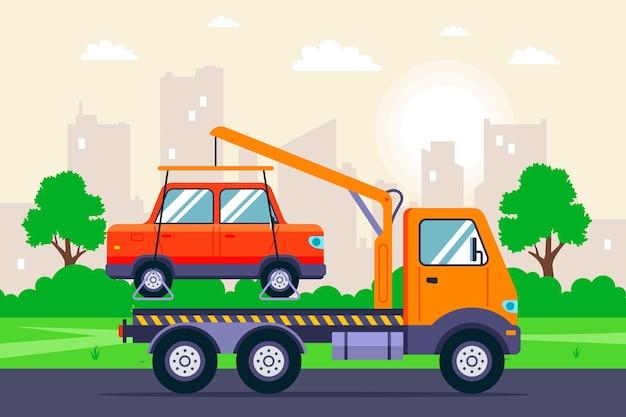 Evacuação de um carro com um guindaste de caminhão de reboque em uma rua da cidade. ilustração plana. Vetor Premium