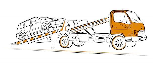 Evacuação do caminhão de reboque do carro. mão ilustrações desenhadas. Vetor Premium