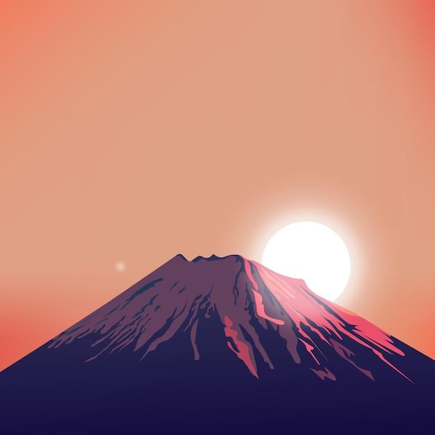 Evening mountain vector art Vetor Premium