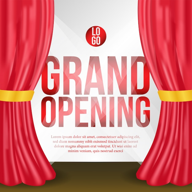 Evento de cartaz de inauguração com cortina vermelha no palco Vetor Premium