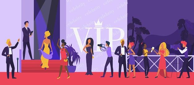 Evento de cerimônia de festa vip com celebridades no tapete vermelho com super estrelas Vetor Premium