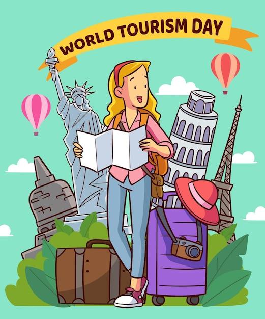 Evento de dia de turismo de design desenhado à mão Vetor grátis
