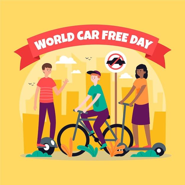 Evento de dia livre de carro mundial de mão desenhada Vetor grátis