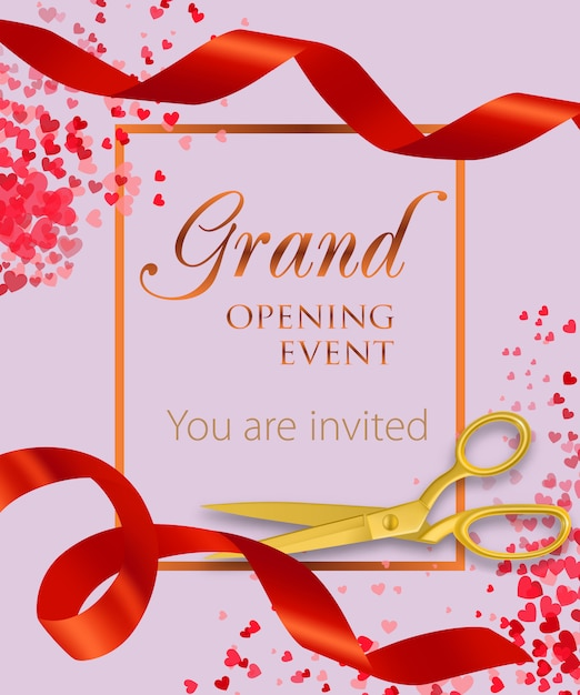 Evento de inauguração letras com confetes de coração Vetor grátis