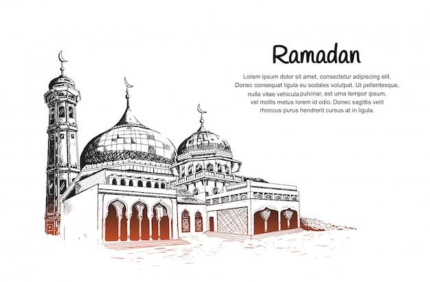 Evento de mês de ramadã com ilustração de mesquita Vetor Premium