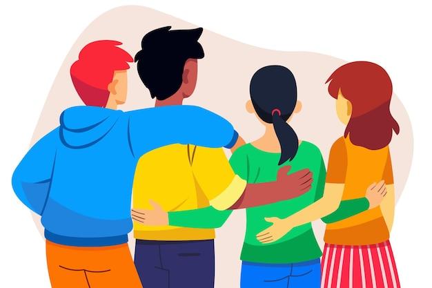 Evento do dia da juventude com pessoas abraçando Vetor grátis