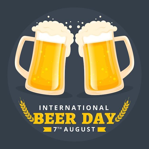 Evento do dia de cerveja com design plano de canecas Vetor grátis