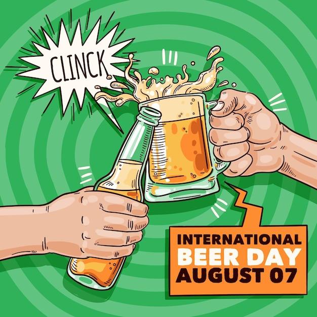 Evento do dia de cerveja com estilo de mão desenhada caneca Vetor grátis