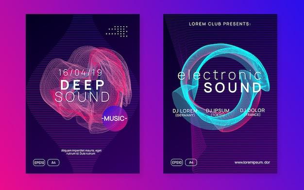 Evento elétrico. conjunto de cartaz de concerto moderno. forma e linha de gradiente dinâmico. folheto de néon de evento elétrico. trance dance music. som eletronico Vetor Premium