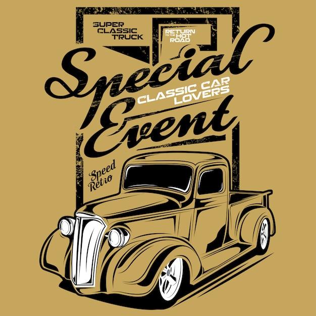 Evento especial amantes de carros clássicos, ilustração de um carro clássico de mini caminhão Vetor Premium