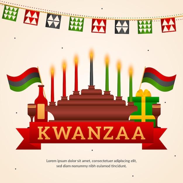 Evento ilustrado de kwanzaa com candelabros Vetor grátis