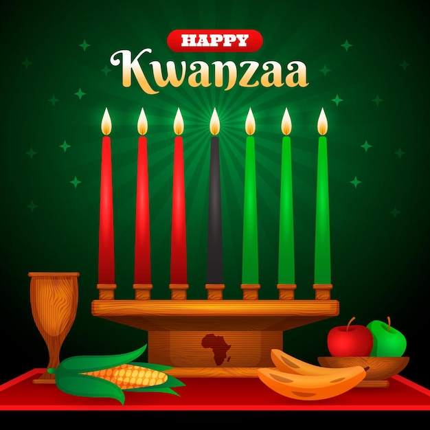 Evento realístico de kwanzaa com velas Vetor grátis