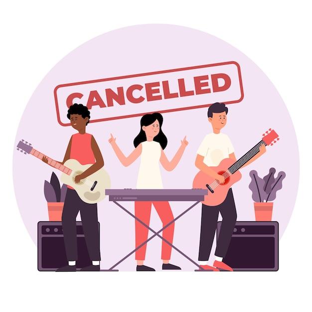 Eventos musicais cancelados com banda ao vivo Vetor grátis