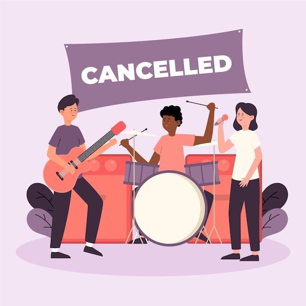 Eventos musicais cancelados com banda Vetor grátis