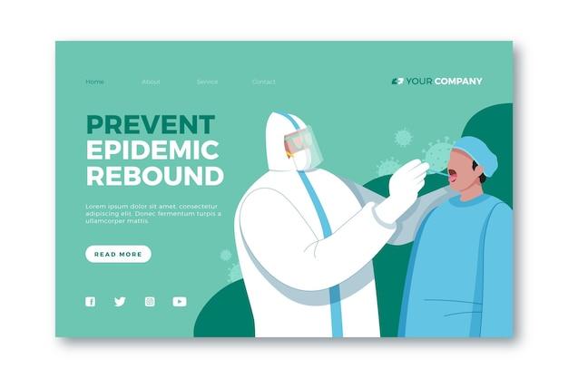 Evitar a página de destino da recuperação da epidemia Vetor Premium