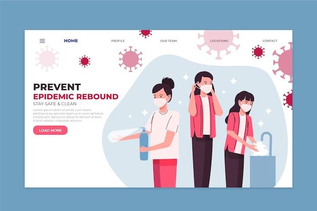 Evitar a recuperação da epidemia - página de destino Vetor grátis