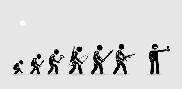 Evolução das armas humanas em uma linha do tempo da história. as armas evoluem com o tempo. o ser humano moderno usa o telefone com câmera como sua arma preferida. Vetor Premium