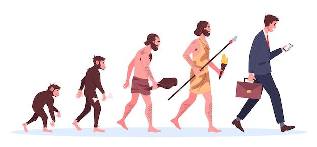 Evolução do homem. de macaco a empresário. desenvolvimento histórico. Vetor Premium