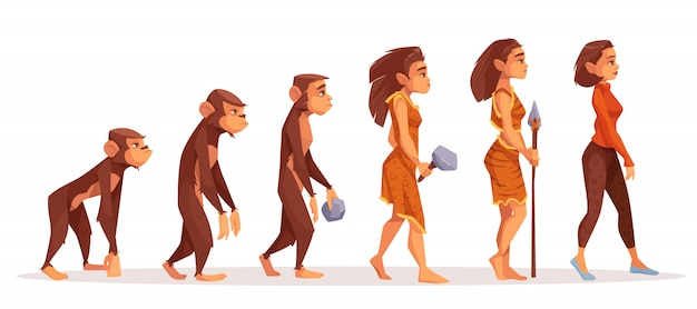 Evolução humana de macaco para mulher Vetor grátis