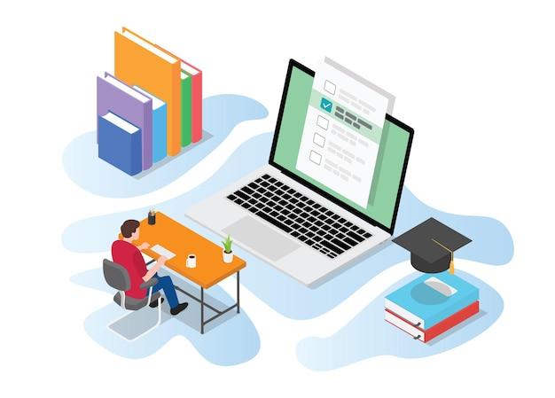 Exame de teste online ou ao vivo com pessoas estudando no computador na mesa da mesa com ilustração de estilo isométrico moderno Vetor Premium