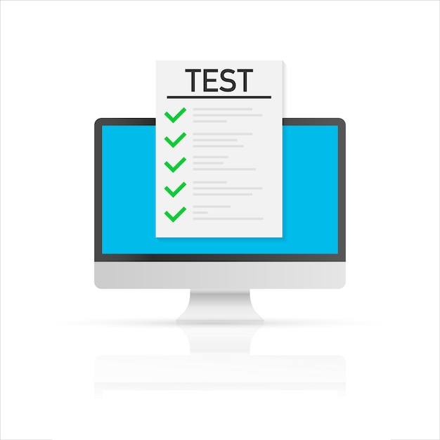 Exame, lista de verificação e lápis em linha, tomando o teste, escolhendo a resposta, formulário do questionário, conceito da educação. ilustração vetorial Vetor Premium