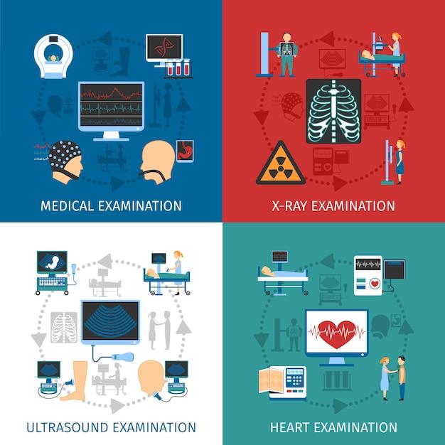 Exame médico 4 flat icons square Vetor grátis