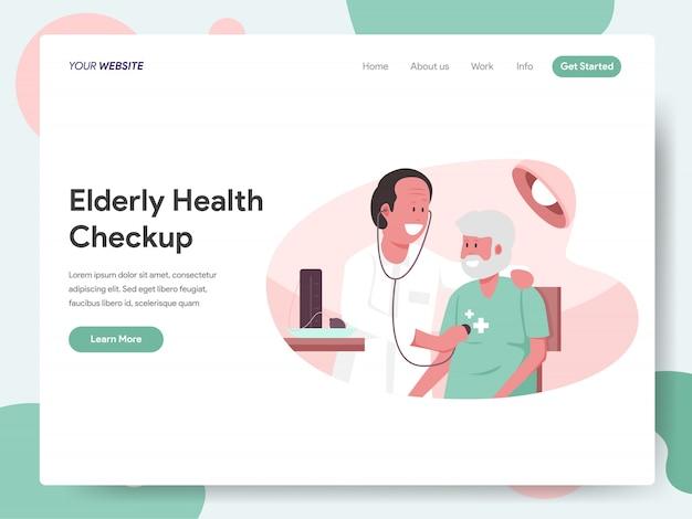 Exame médico completo com faixa de médico para página de destino Vetor Premium