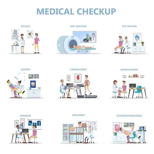 Exame médico completo com paciente e médicos. Vetor Premium