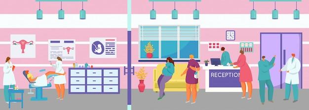 Exame médico ginecológico, personagem de desenho animado paciente mulher no exame ginecologista no armário do quarto de hospital Vetor Premium