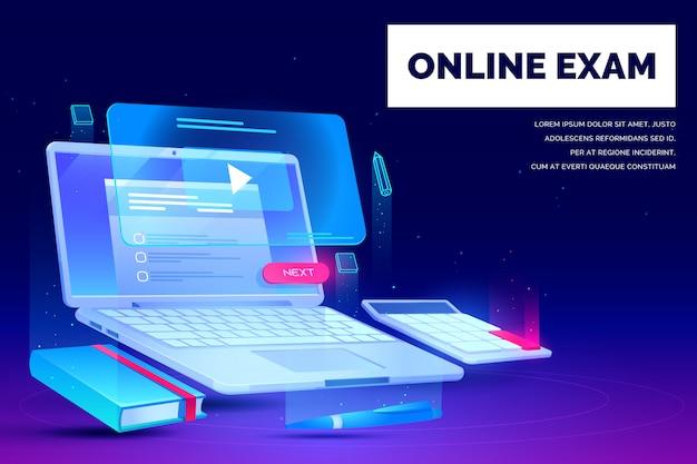 Exame on-line, banner da página de destino da educação distante Vetor grátis