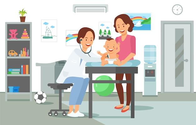 Exame pelo pediatra Vetor Premium