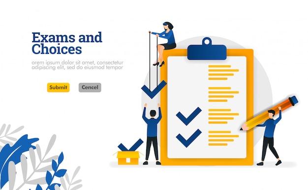 Exames e escolhas personagem plana para aprendizagem e consultores de pesquisa conceito de ilustração vetorial Vetor Premium