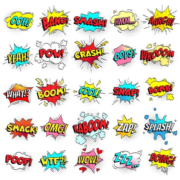 Exclamação mensagens de texto em quadrinhos assina em bolhas do discurso Vetor Premium