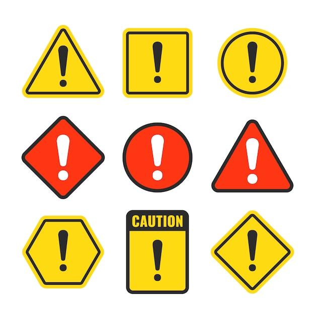 Exclamation beware ícones Vetor Premium