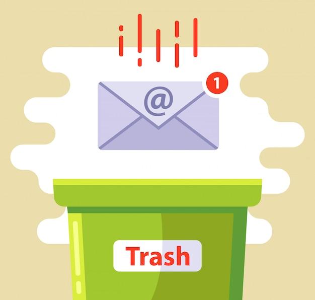 Exclua o e-mail na lata de lixo de spam. ilustração. Vetor Premium
